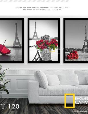 Bộ 3 Tranh Canvas tháp eiffel hoa hồng WT-120