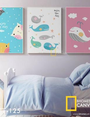 Bộ 3 Tranh Canvas Mèo và Cá Voi WT-126