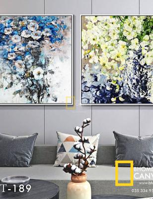 Bộ 2 Tranh Canvas hoa đồng nội sơn mài  WT-189