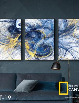 Bộ 3 tranh canvas Vân mây WT-19
