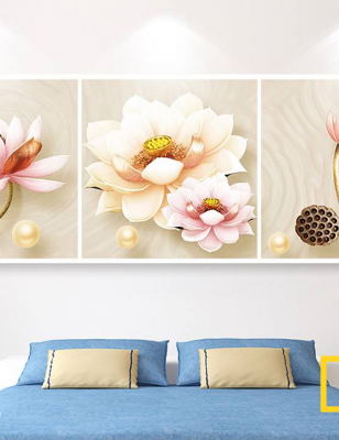 Bộ 3 Tranh Canvas Hoa sen ngọc trai WT-194
