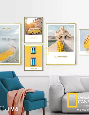 Bộ 5 Tranh Canvas ô tô cô gái màu vàng WT-196