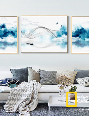 Bộ 3 tranh canvas Mây Sông Núi WT-20