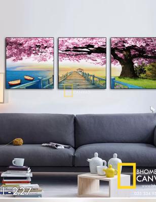 Bộ 3 Tranh Canvas Cây và Bãi Biển màu tím WT-227