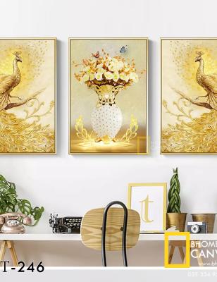 Bộ 3 Tranh Canvas Chim công vàng và hoa WT-246