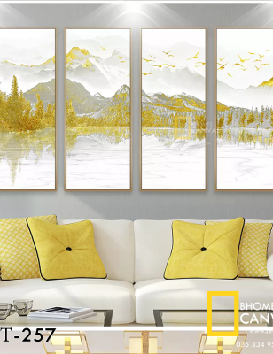 Bộ 4 Tranh Canvas Phong cảnh Núi vàng WT-257