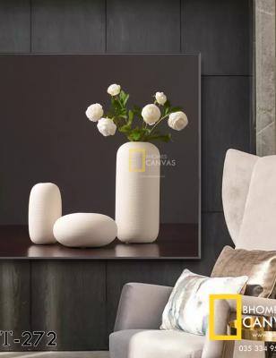 Tranh Canvas Bình hoa Hồng trắng WT-272