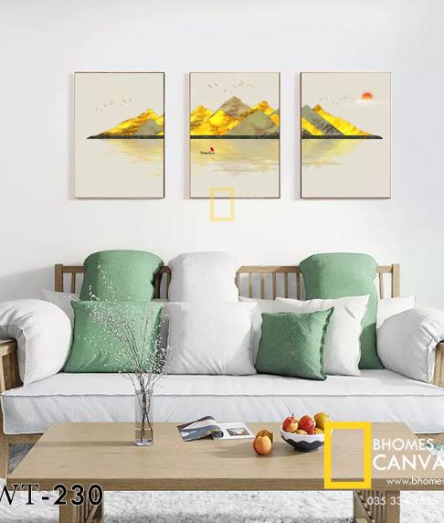 Bộ 3 Tranh Canvas Phong cảnh Núi màu vàng WT-230