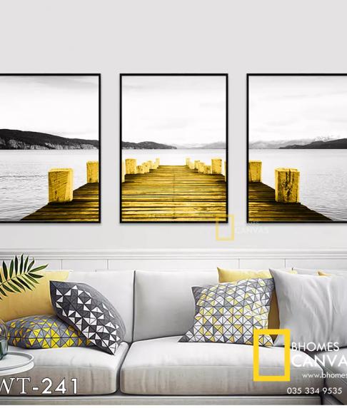 Bộ 3 Tranh Canvas phong cảnh Cầu vàng WT-241