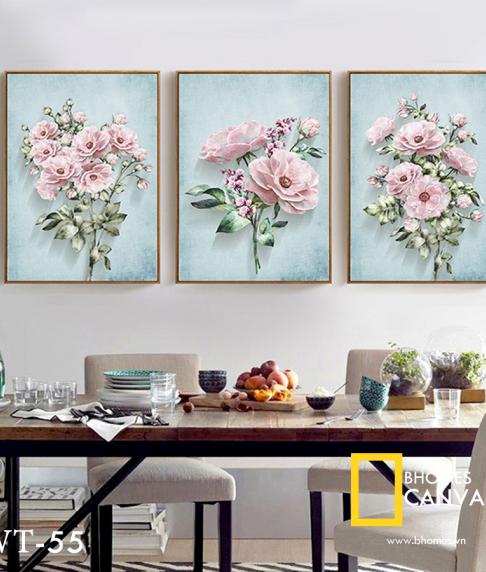 Bộ 3 tranh Canvas Hoa hồng cổ WT-55