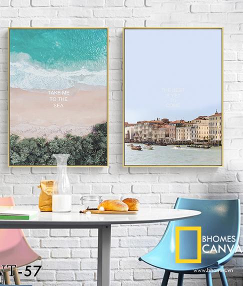 Bộ 2 tranh Canvas Nhà và Biển WT-57