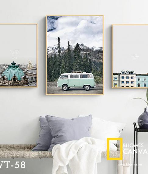 Bộ 3 tranh Canvas phong cảnh Ô tô nhà WT-58