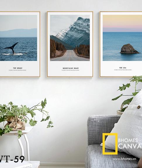 Bộ 3 tranh Canvas phong cảnh Núi và Biển WT-59